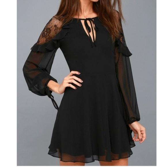 Lulus Long Sleeve Lace Skater Dress Medium Black
